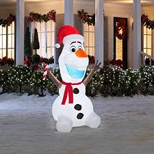 Lowes Outdoor Inflatable Christmas Decorations by Amazon Com Gemmy Airblown Inflatable Olaf Wearing Santa Hat And