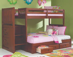 discovery world furniture twin over full merlot staircase bunk bed