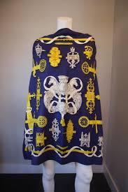 hermes ferronnerie navy blue yellow u0026 white silk scarf