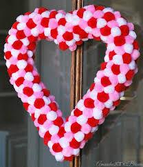 heart wreath easy pom pom heart wreath hometalk
