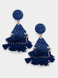 navy blue earrings the trixxi beaded tassel earrings navy blue