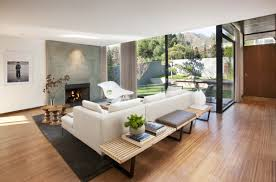 living room mid century modern with fireplace fence outdoor
