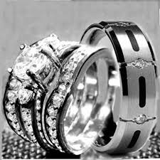 his hers 4 pcs womens sterling silver mens titanium wedding