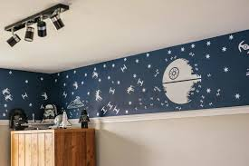 star wars bedroom with track lighting and star wars wall murals
