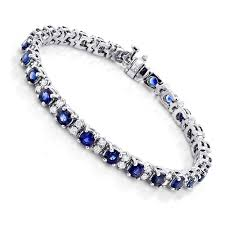 sapphire bracelet with diamonds images Gold blue sapphire diamond tennis bracelet for women 3 76ct jpg