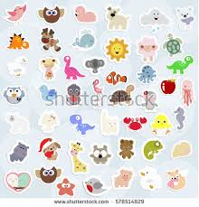 great collection cute childrens stickers labels stock vector