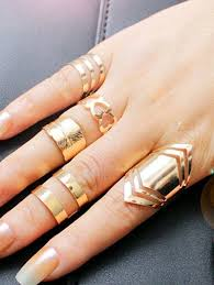 simple metal rings images Rings gold simple metal feather heart cuff ring set gamiss jpg