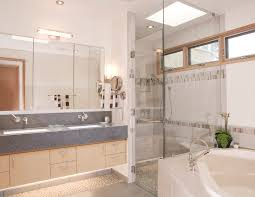Stone Floor Bathroom - pebble stone shower floor bathroom contemporary with accent tile
