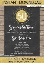 chalkboard 60th birthday invitations template gold glitter