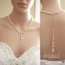 crystal back necklace images Rose gold pearl necklace wedding rose gold pearl back necklace jpg