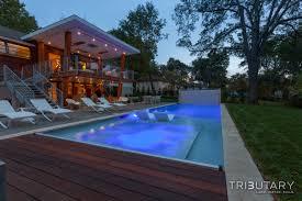 geometric mid century modern tributary pools spas tributary pools kurt kraisinger landscape architect luxury custom pool fire feature water feature pergola structure and