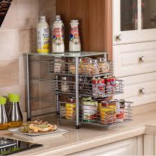 tempered glass shelves for kitchen cabinets flagship 3 tier sliding backet organizer drawer with tempered glass mesh shelves for spice rack countertop kitchen sink drawer bathroom