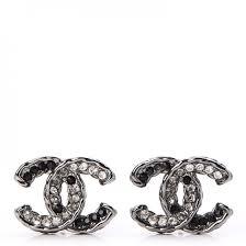 cc earrings chanel ruthenium cc earrings silver black 238921