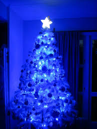 blue and white lights on tree with staroor