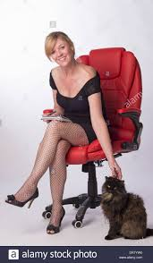 Secretary Desk Chair by Secretary Sitting On Office Chair With The Office Cat Used As A
