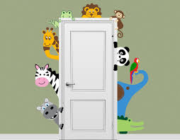 Safari Nursery Wall Decals Jungle Safari Animal Decal Peeking Door Hugger Nursery Wall