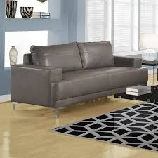 Modern Faux Leather Sofa Shop Monarch Specialties Modern Charcoal Grey Faux Leather Sofa At