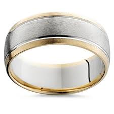 mens two tone wedding band mens gold 8mm two tone comfort fit wedding band ring