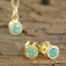 november birthstone topaz or citrine gemstone blue topaz gold jewellery gift set by embers gemstone