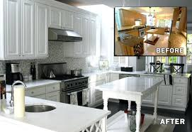 Painted Kitchen Cabinets Before After Glazed Kitchen Cabinets Before And After Painting Melamine Kitchen