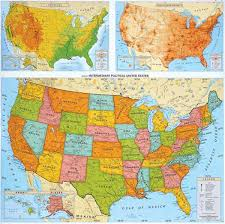united states map with rivers and mountain ranges political classroom map series