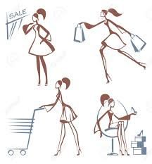 shopping girls sketches royalty free cliparts vectors and stock
