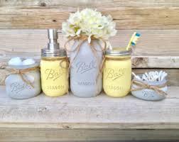 Gray Bathroom Accessories Set by Yellow Gray Bathroom Etsy