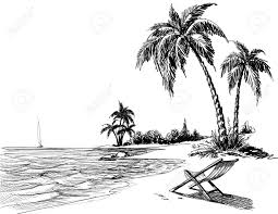 summer beach pencil drawing royalty free cliparts vectors and