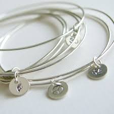 bangle charm bracelet sterling silver images Bangles sterling silver bracelets with stamped charm set of jpg