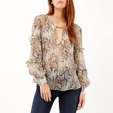 snake print blouse snake print frilly sleeve blouse endource