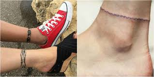 romantic and elegant ankle bracelet tattoo designs design