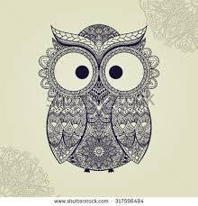 boho ornamental owl illustration ethnics abstract stock vector