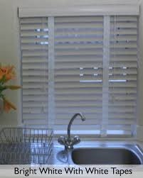 white wooden venetian blinds 50mm slats made with cords or