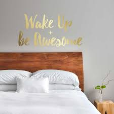wake up u0026 be awesome decal kiss cut inspirational quote wall