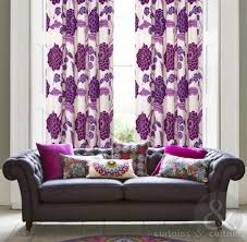 Purple Floral Curtains Tuscany Floral Purple Print Taped Lined Curtain Curtains Uk