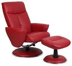 mac motion red bonded leather swivel recliner with ottoman