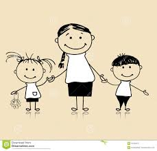happy family mother and children drawing sketch royalty free