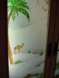 desert palms ii in color glass door inserts sans soucie