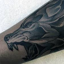 neo traditional guys forearm wolf ideas