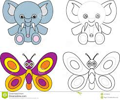 coloring page book for kids elephant butterfly royalty free
