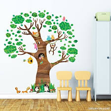 stickers animaux chambre bébé decowall dl 1709 arbre géant animaux autocollants muraux mural