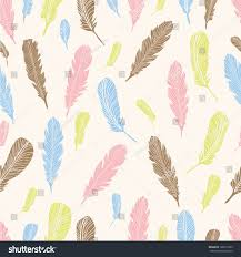 Pastel Colours Vector Seamless Pattern Feathers Pastel Colours Stock Vector