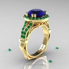sapphire emerald rings images Caravaggio 14k yellow gold 3 0 ct blue sapphire emerald engagement jpg