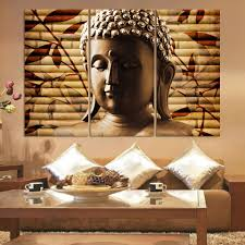 luxry 3pieces classical buddha painting solemn buddhism wall