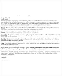 7 sample teacher thank you letters free sample example format