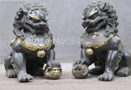 foo dogs statues zsr916 11 china folk bronze handwork foo dog lion tie up small