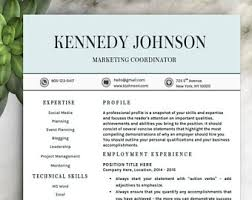 free resume template for word free resume template etsy