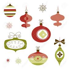 vintage christmas ornaments set of retro christmas ornaments royalty free cliparts vectors