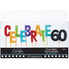celebrate 60 birthday celebrate 60 birthday toothpick candle set 10pc