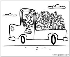 truck of recycling waste coloring page free coloring pages online